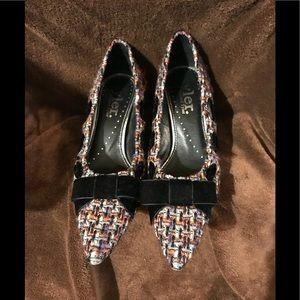 Richard Tyler tweed heels with velvet bow